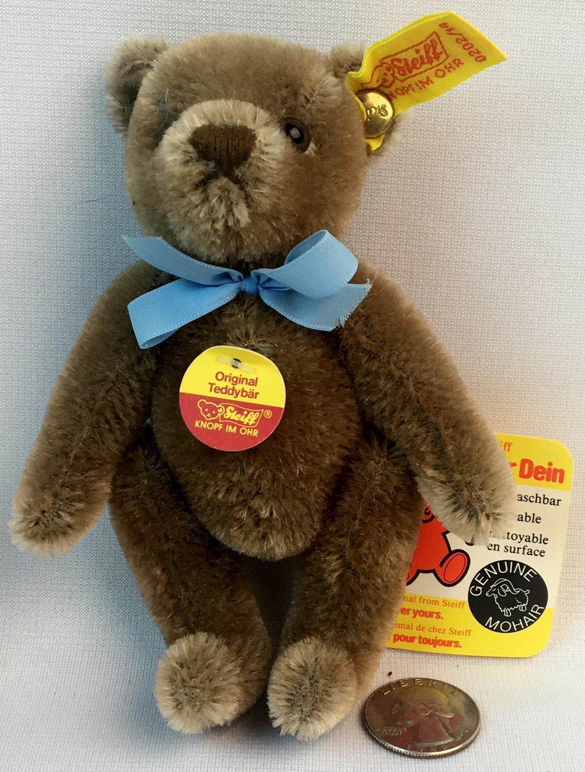 """Vintage Steiff Small Mohair Jointed Teddy Bear w/ Tags and Button 5.5"""" Tall"""