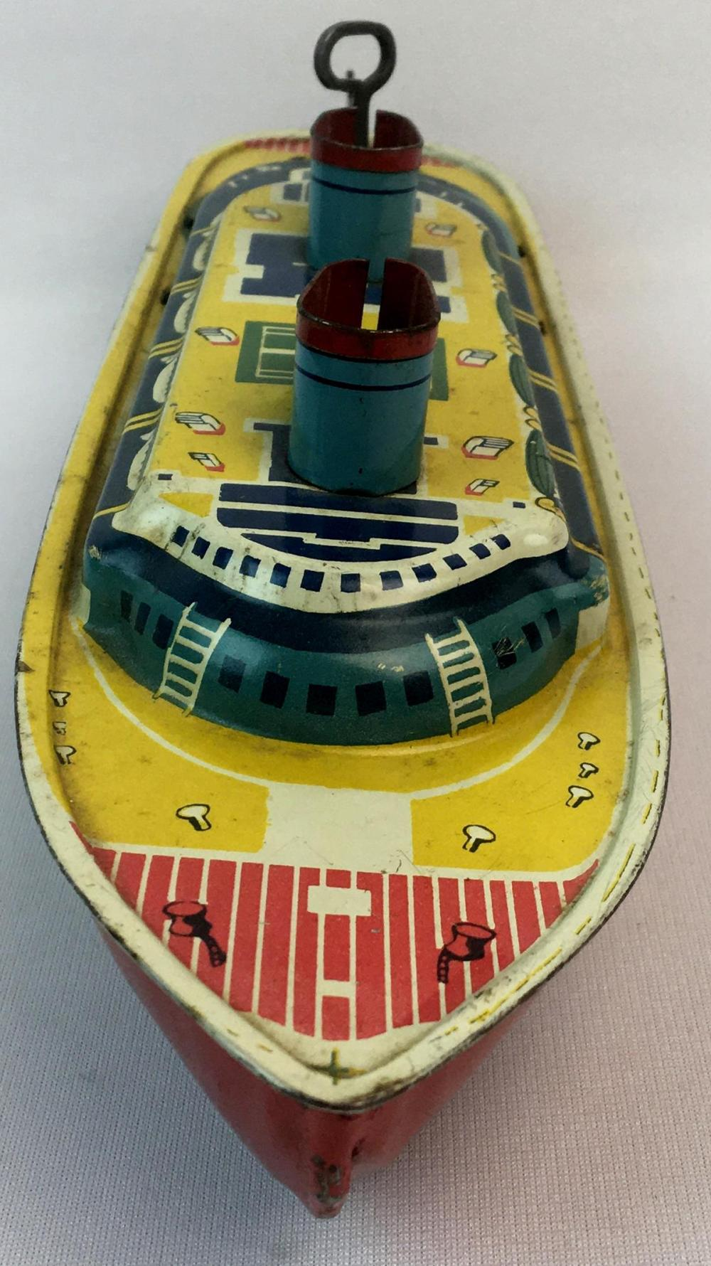 Vintage 1940's Luxury Liner Cruise Ship Wind-Up Tin Litho Toy Boat WORKS
