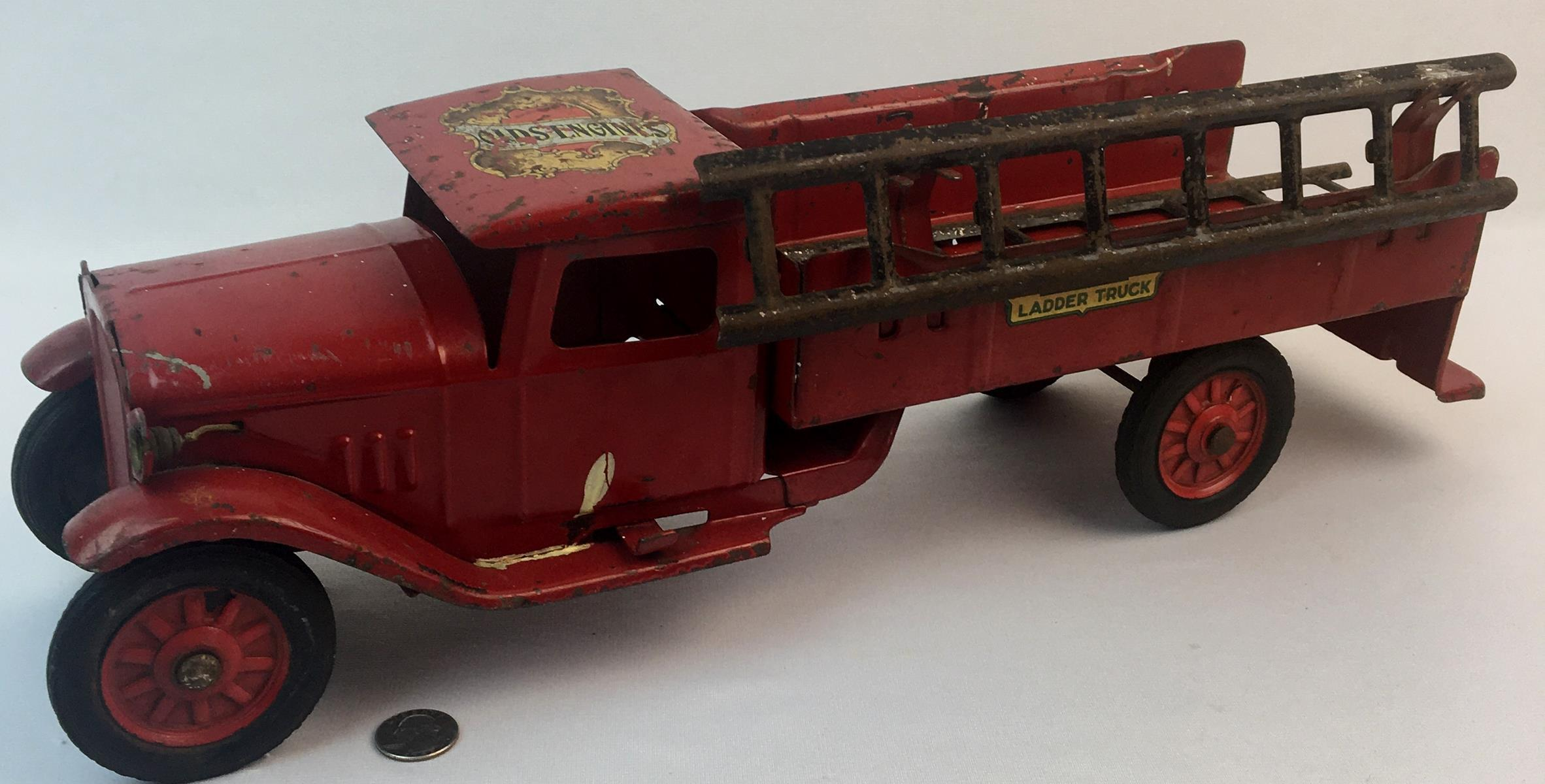 Antique 1930's Buddy L Pressed Steel Red Ladder Truck w/ Battery Operated Headlights