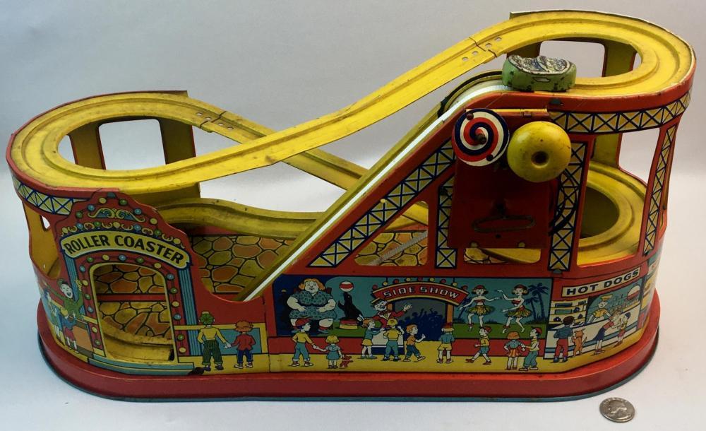 Vintage 1950's J. Chein Tin Litho Wind Up Roller Coaster w/ Green Car WORKS