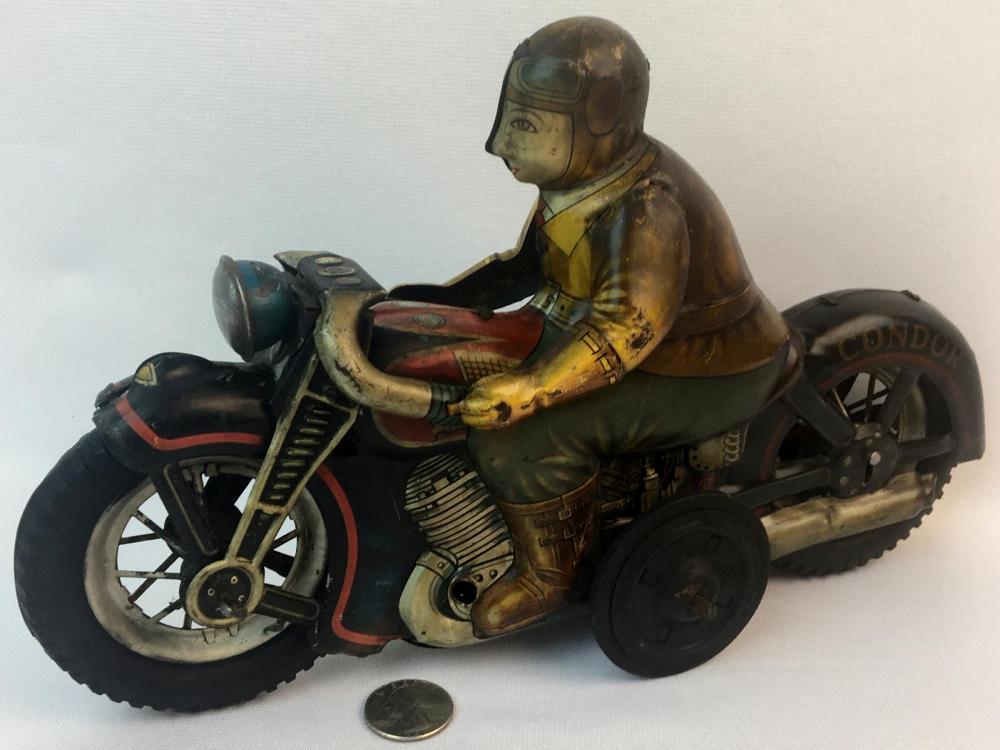 Vintage c. 1960 Yonezawa Japan I.Y. Condor Tin Litho Friction Motorcycle w/ Rider