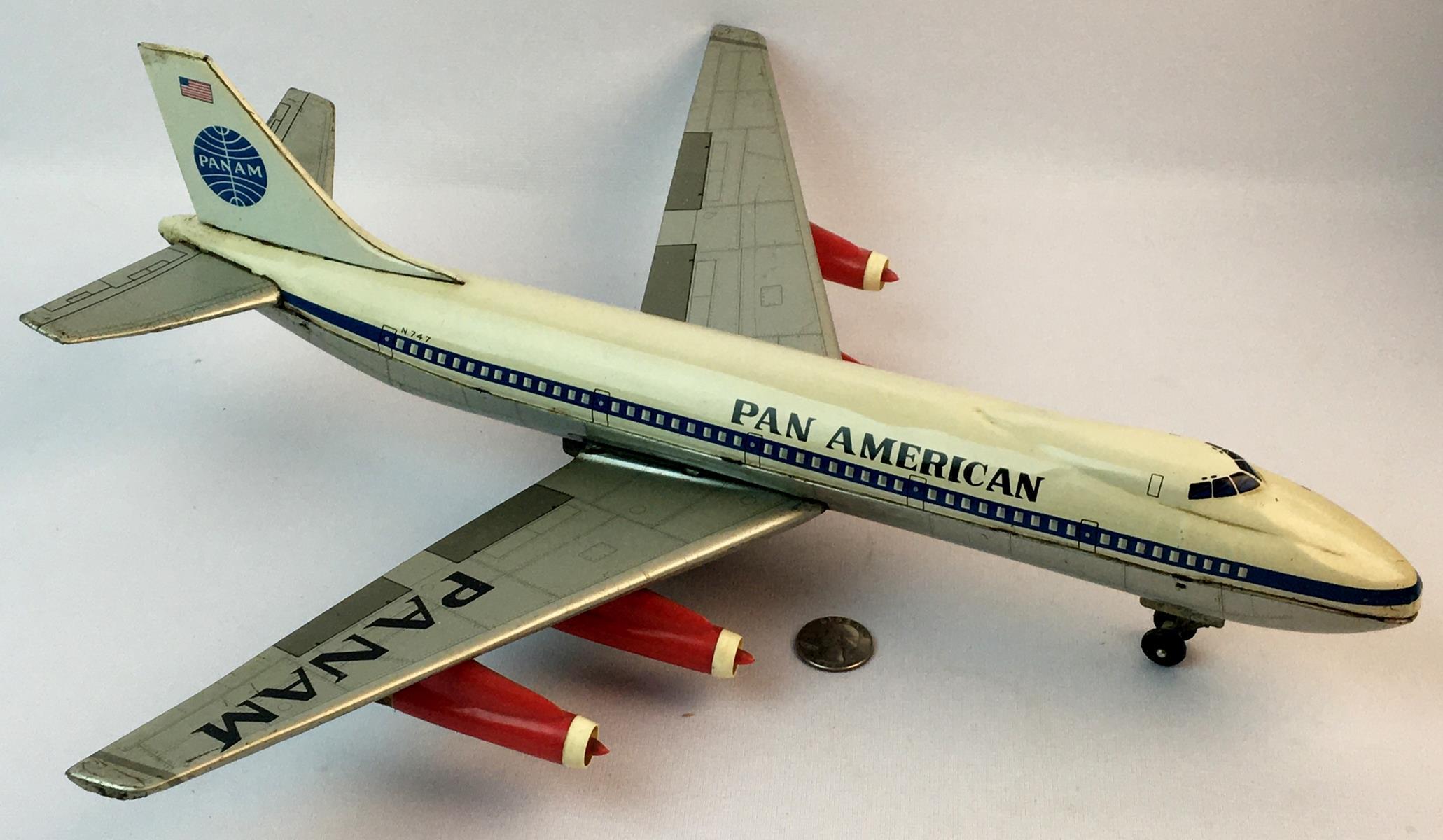Vintage c. 1960 Alps Japan Pan American Tin Friction Toy N.747 Airplane