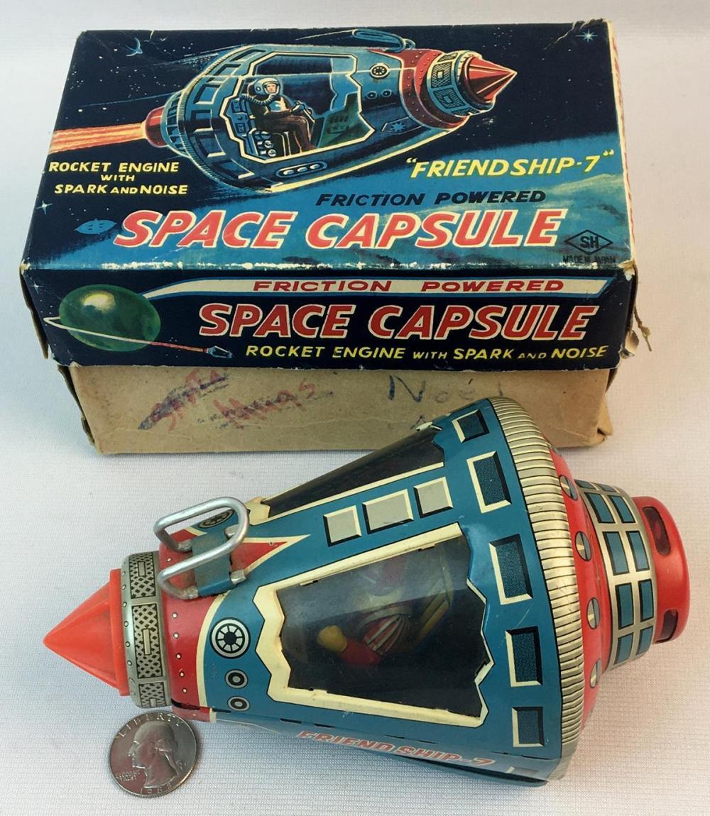 "Vintage 1960's SH Horikawa Japan Tin Litho Friction Space Capsule ""Friendship 7"" w/ Box WORKS"