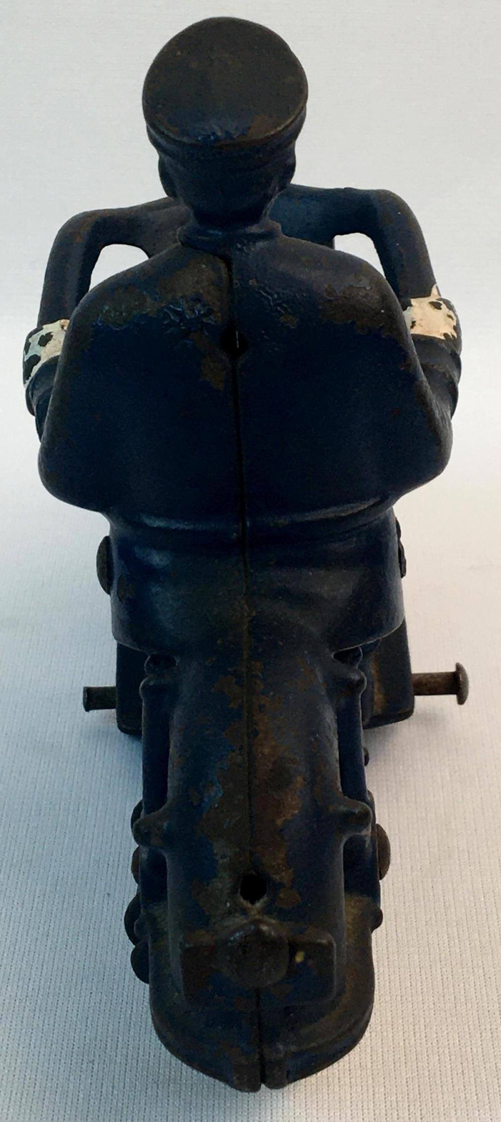 Antique 1930's Hubley Cast Iron Champion Blue Police Motorcycle w/ White Rubber Tires 7
