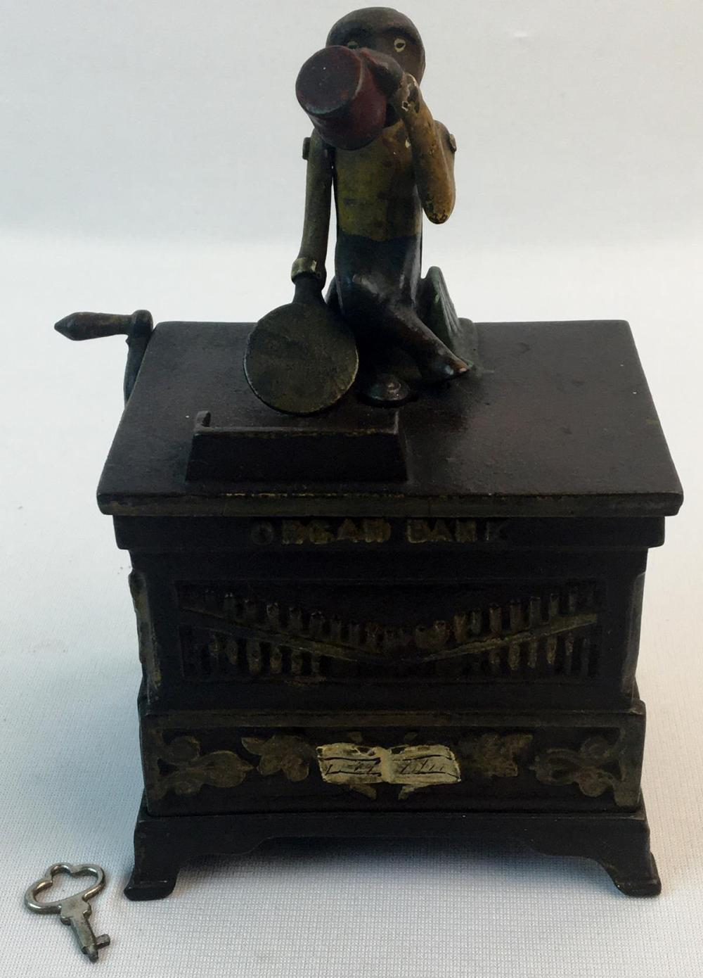 """Antique 1881 Kyser & Rex Co. Hand Painted Cast Iron Mechanical """"Organ Bank"""" WORKS"""