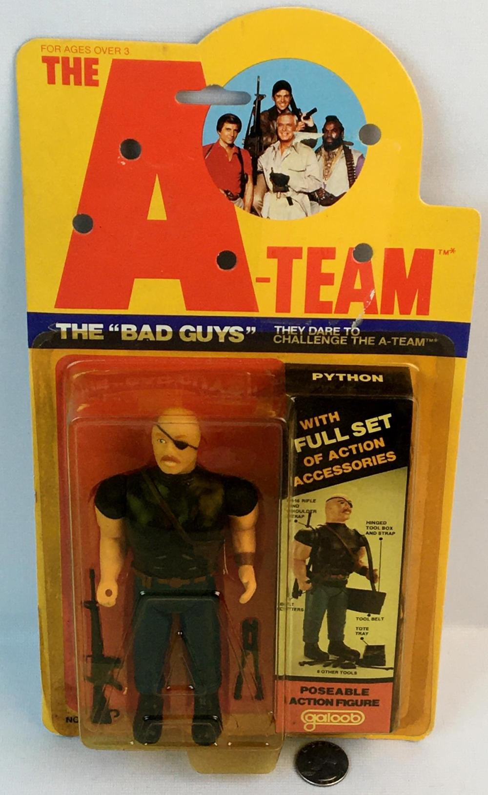 """Vintage 1983 The A-Team The Bad Guys """"Python"""" Action Figure CARDED"""