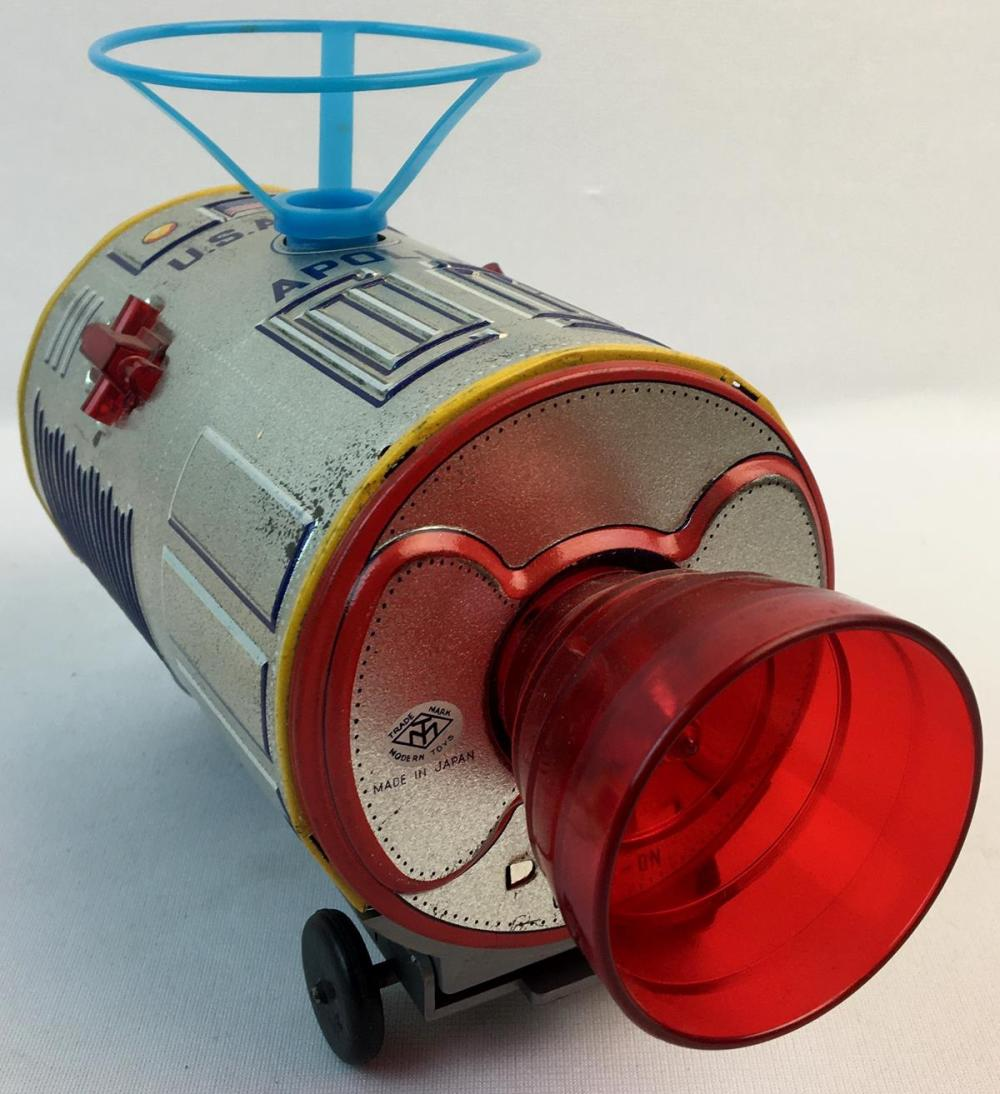 Vintage 1960's TM Modern Toys Japan Tin Litho B/O Space Capsule with Floating Astronaut w/ Box WORKS