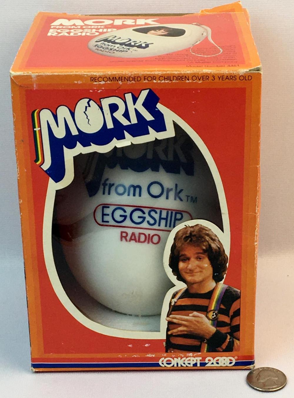 Vintage 1979 Mork From Ork Eggship Radio w/ Box WORKS