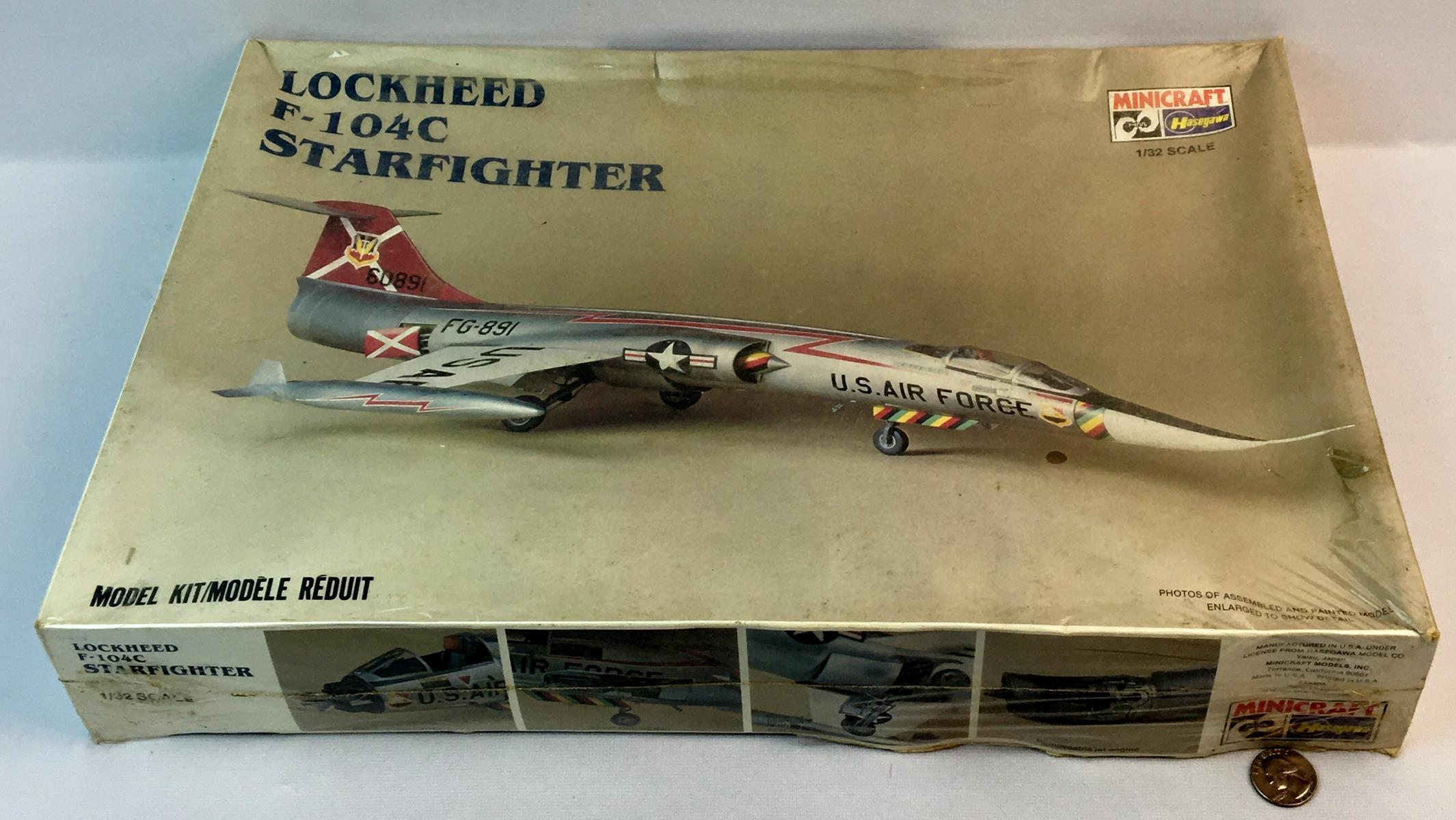 Vintage 1980's Lockheed F-104C Starfighter 1/32 Scale Hasegawa Minicraft Model Kit SEALED