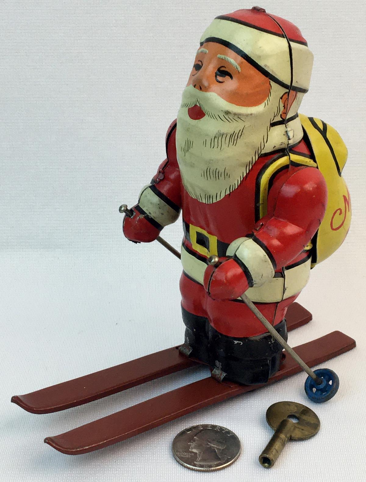 Vintage 1940's Tin Litho Wind Up Skiing Santa Claus by KSK Japan