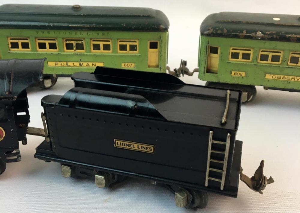 Vintage Pre War Lionel 259E Steam Locomotive, 249t Tender, Two 607 Pullman and 608 Observation Cars O Gauge