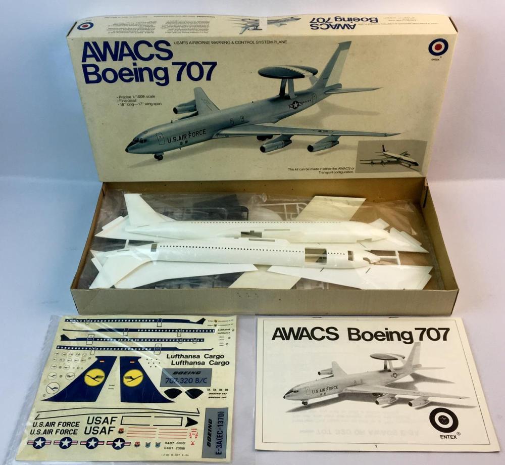 Vintage 1974 AWACS Boeing 707 USAF'S Airborne Warning & Control System Plane 1/100 Scale Entex Model Kit UNBUILT
