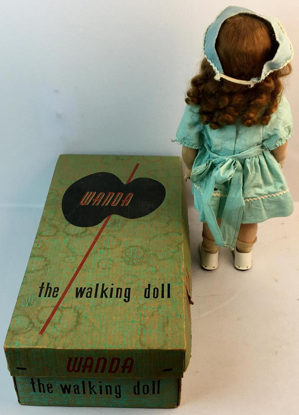 Vintage 1950's Wind Up Wanda The Walking Doll by Advance Doll Co. w/ Box WORKS