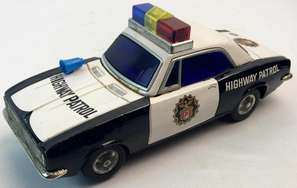 Lot Vintage 1970 S Masudaya Tm Modern Toys Highway Patrol Battery Operated Tin Litho Toy Police Car