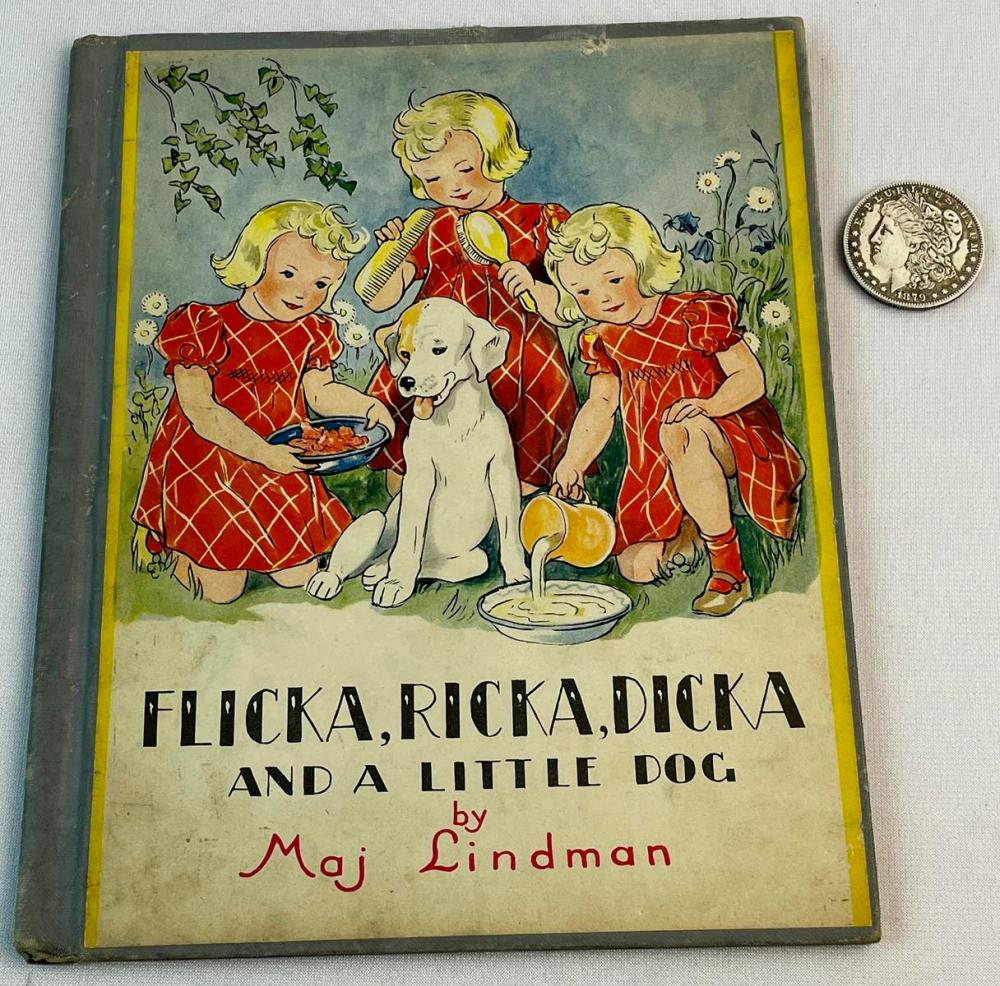 1946 Flicka, Ricka, Dicka and A Little Dog by Maj Lindman Illustrated FIRST EDITION