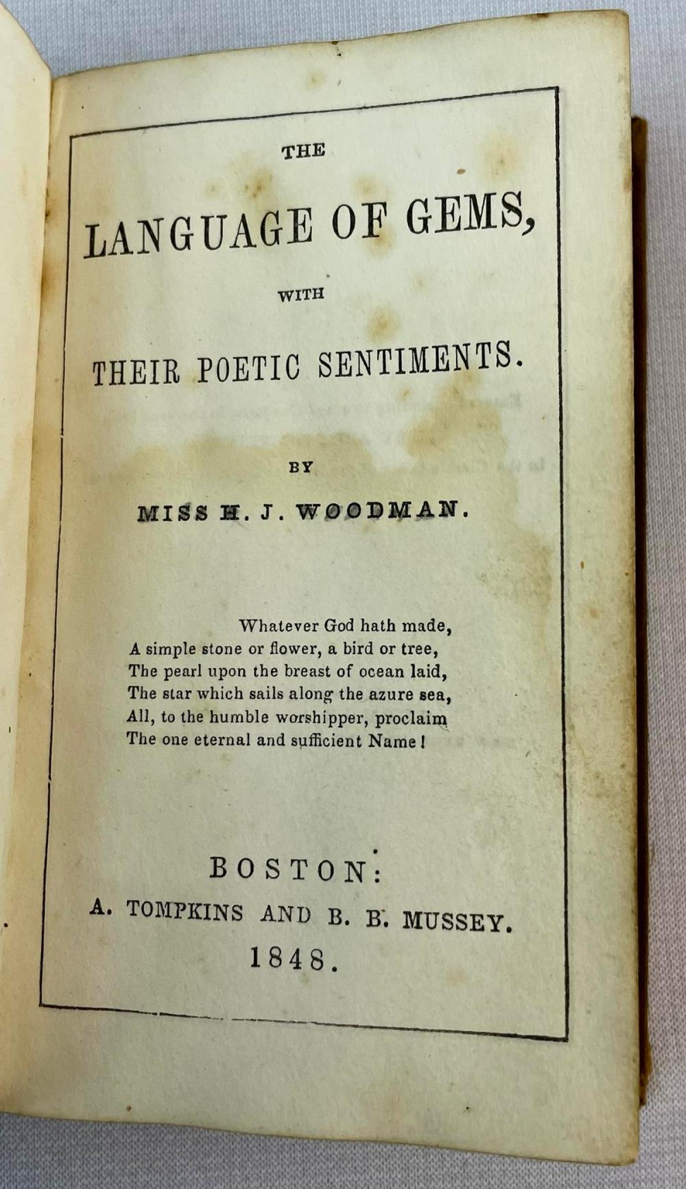 1848 The Language of Gems With Their Poetic Sentiments by Miss H.J. Woodman ILLUSTRATED