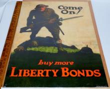 """Original 1918 WWI """"Come On! Buy More Liberty Bonds"""" Poster by Walter Whitehead"""