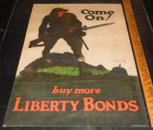 """Original 1918 WWI """"Come On! Buy More Liberty Bonds"""" Linen Backed Poster by Walter Whitehead"""