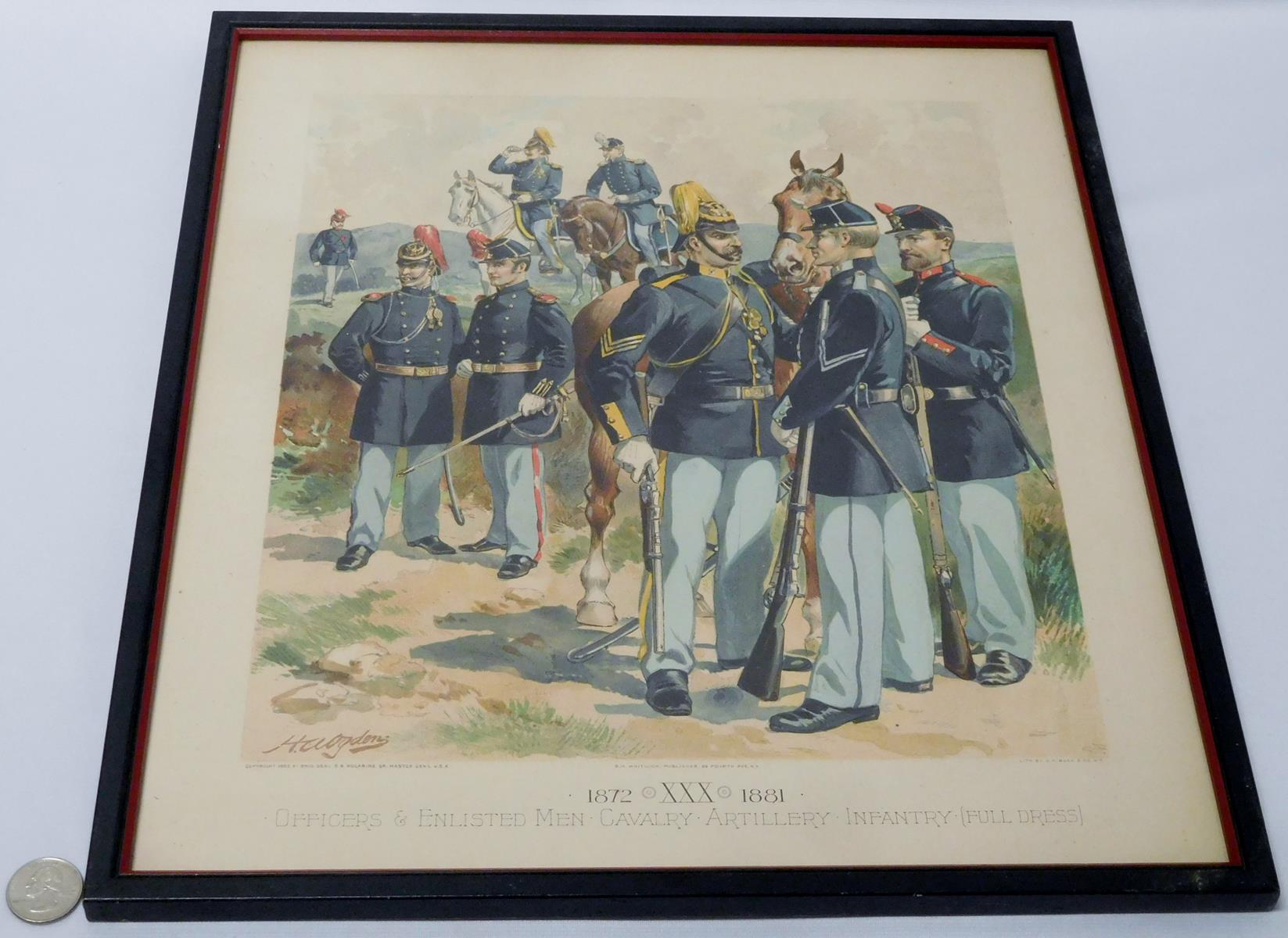 Lot Antique 1885 H A Ogden 1872 1881 Officers Enlisted Men Cavalry Artillery Infantry Chromolithograph Print Framed