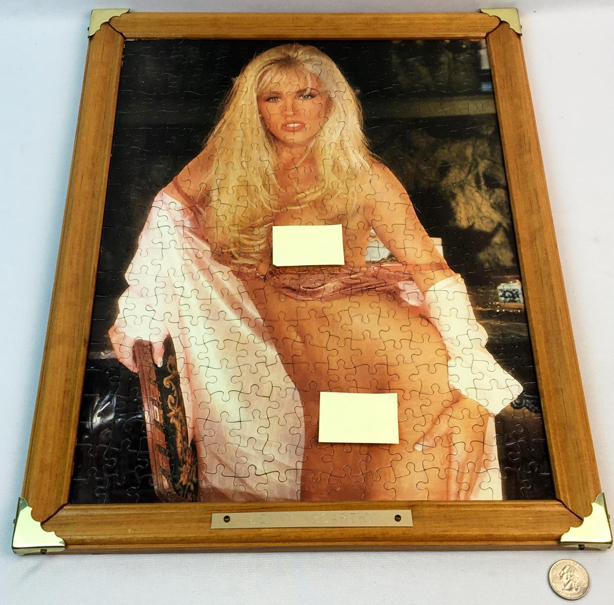 Lot - Vintage Jenny McCarthy Playboy Puzzle COMPLETED & FRAMED