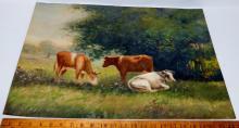 George L. Herdle (American, b.1868, d 1922) Cow Pasture Landscape Watercolor Painting