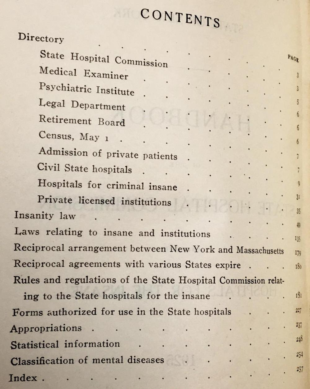 1925 State of New York: Handbook of The State Hospitals Commission and The Hospitals For The Insane