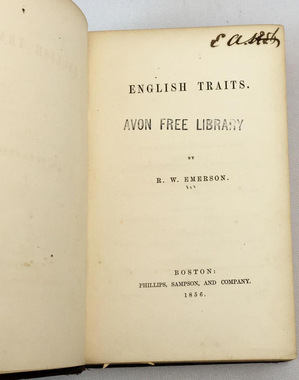 1856 English Traits by R.W. Emerson (Ralph Waldo Emerson) FIRST EDITION