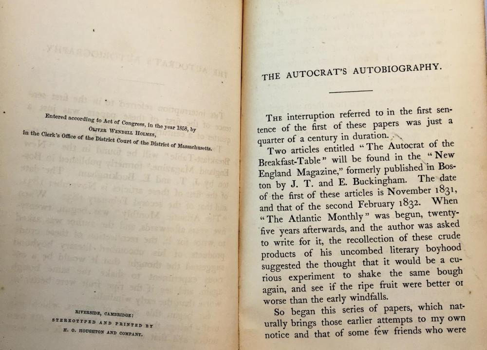 1858 The Autocrat at The Breakfast Table; Every Man His Own Boswell by Oliver Wendell Holmes FIRST EDITION