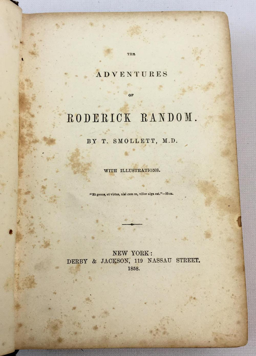 1858 The Adventures of Roderick Random by T. Smollett, M.D.