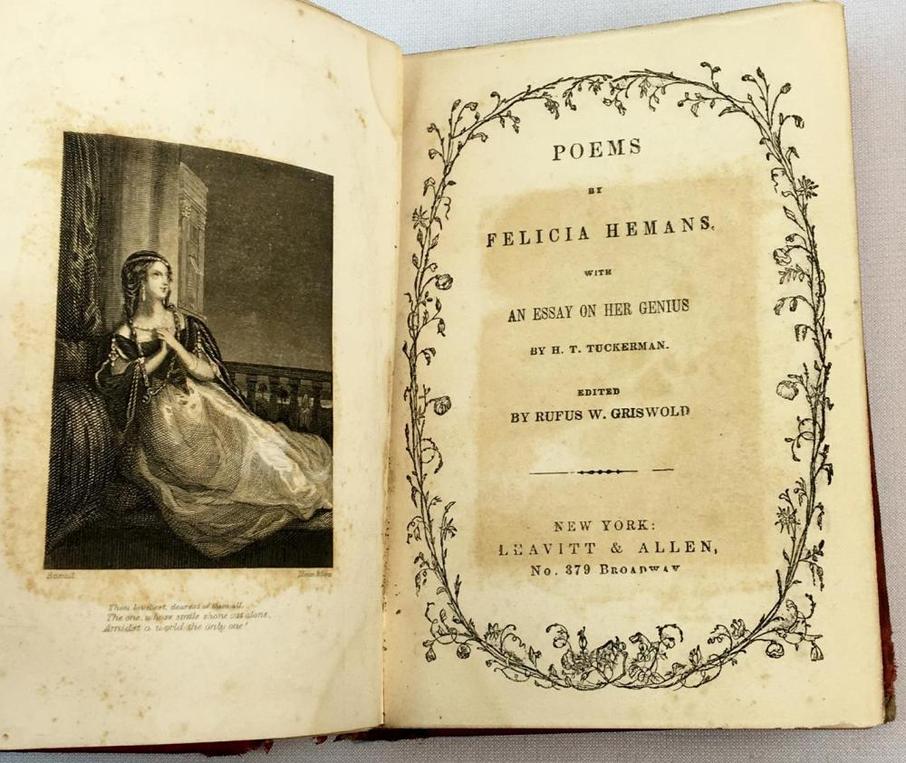 1853 Poems by Felicia Hemans, With an Essay on Her Genius by H. T. Tuckerman