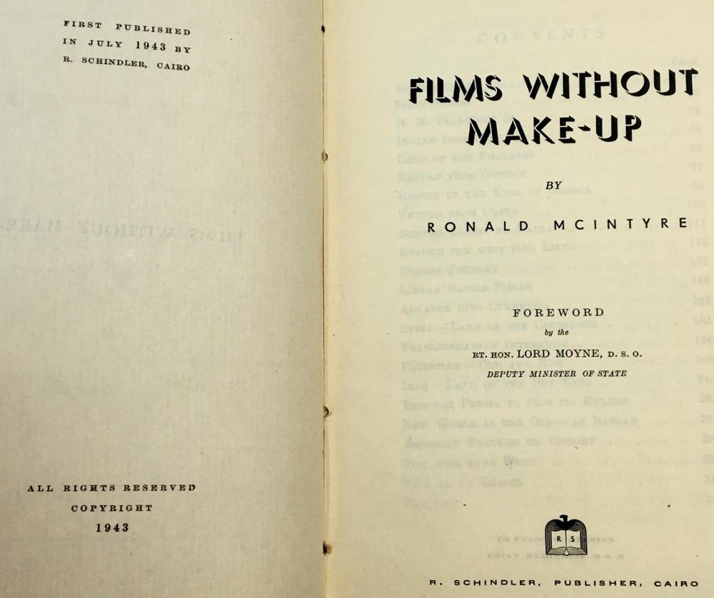 1943 Films Without Makeup by Ronald McIntyre FIRST EDITION