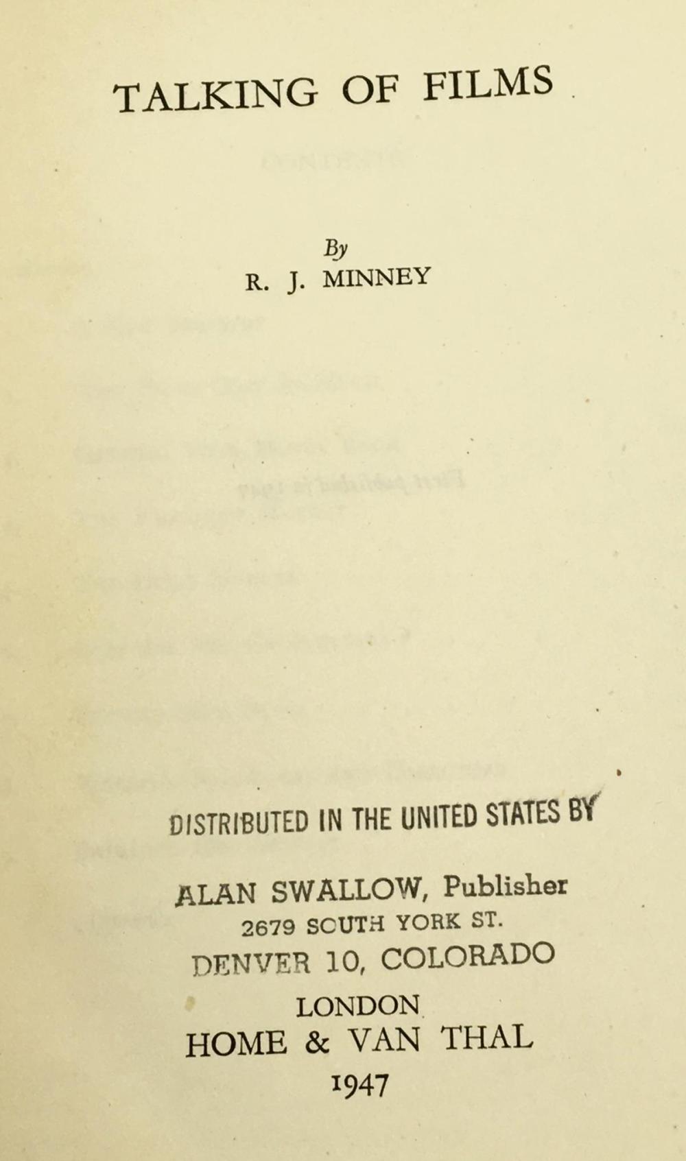 1947 Talking of Films by R.J. Minney w/ Dust Jacket FIRST EDITION
