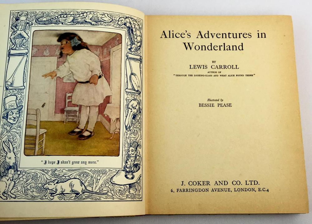 1933 Alice's Adventures in Wonderland by Lewis Carrol Illustrated by Bessie Pease FIRST EDITION
