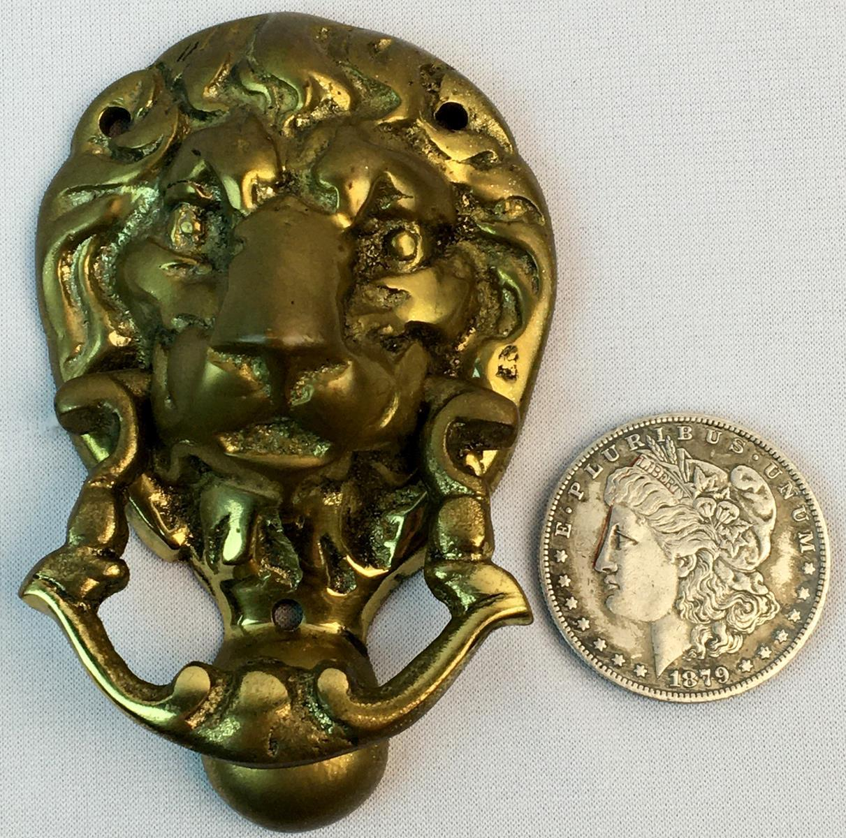 Vintage Brass Lions Head Figural Door Knocker