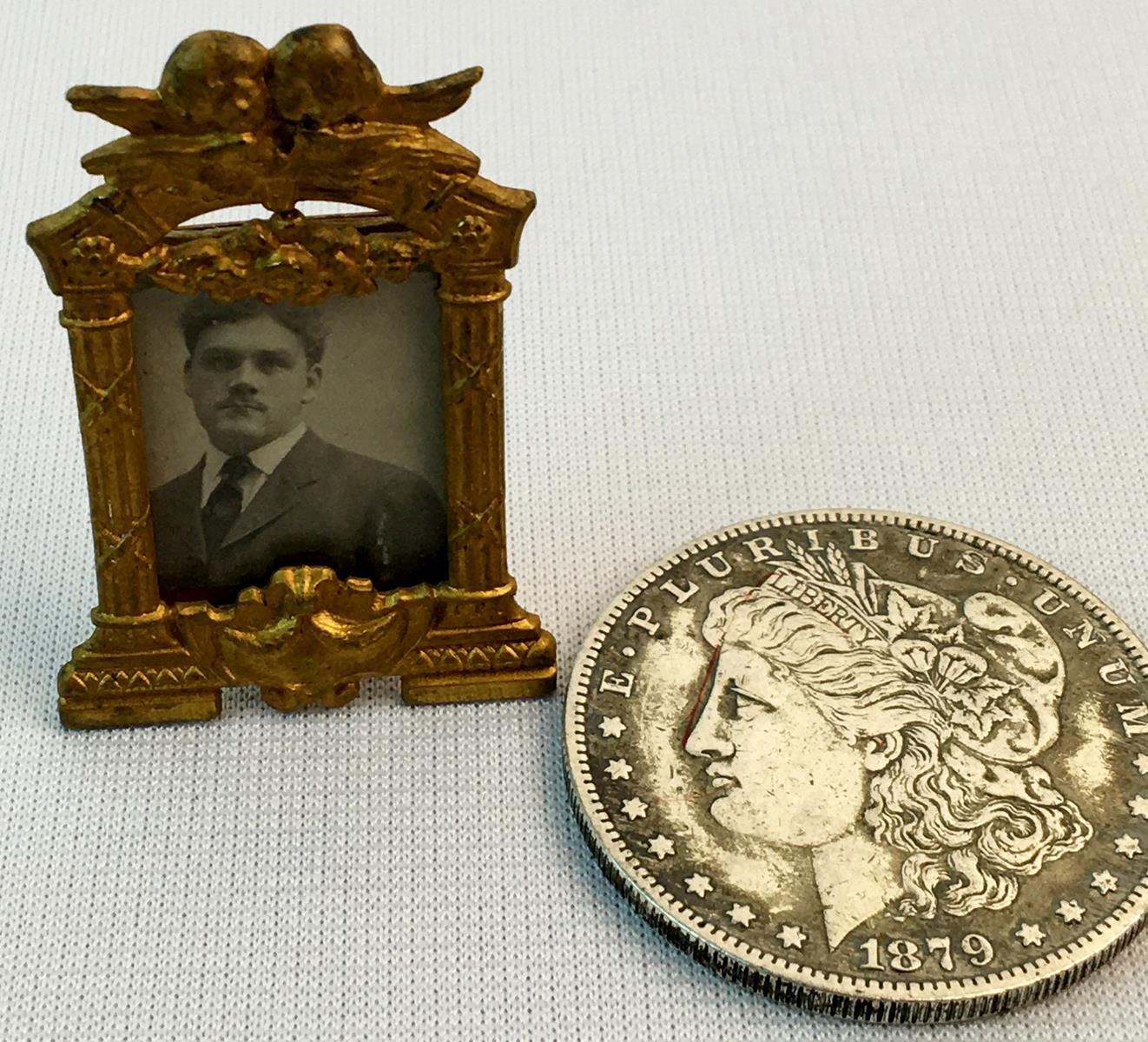 Antique 19th Century Ornate Brass Figural Framed Photograph of a Man