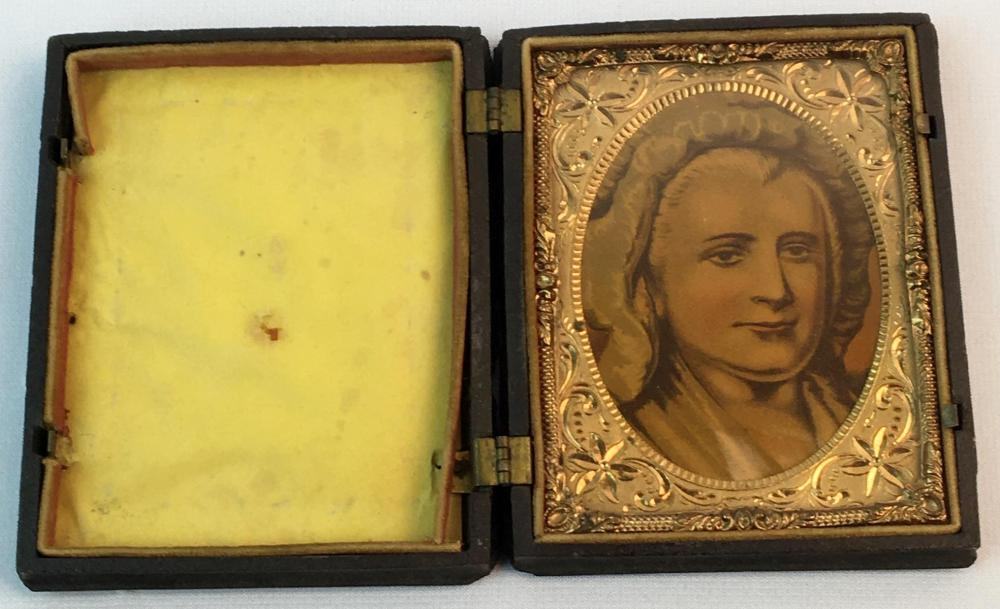 Antique 19th Century Martha Washington Print in a Gutta Percha Case