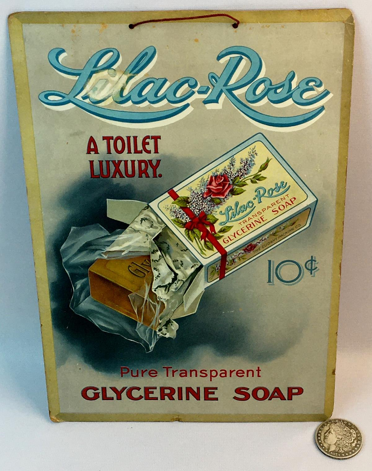 Vintage c. 1920 Lilac Rose Glycerine Soap Double Sided Advertising Sign