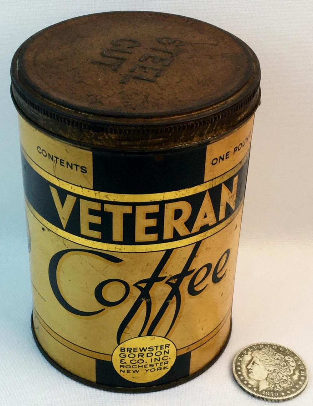 Vintage Veteran Coffee Brewster Gordon & Co. Rochester NY Advertising Tin w/ Lid