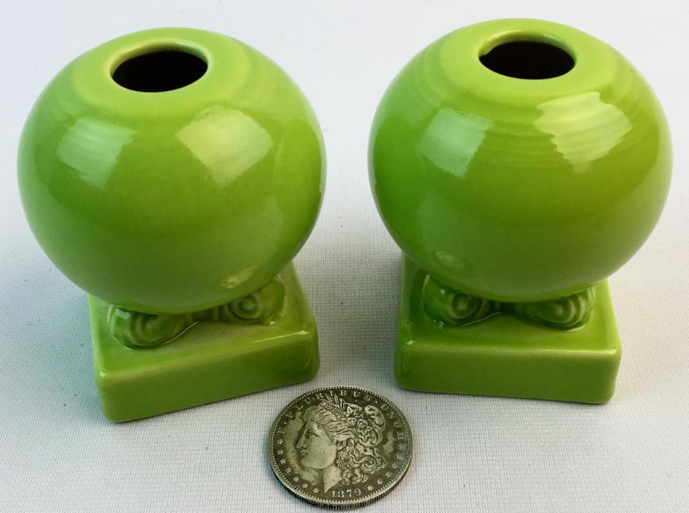 Vintage Pair of Fiestaware Chartreuse Bulb Candle Holders