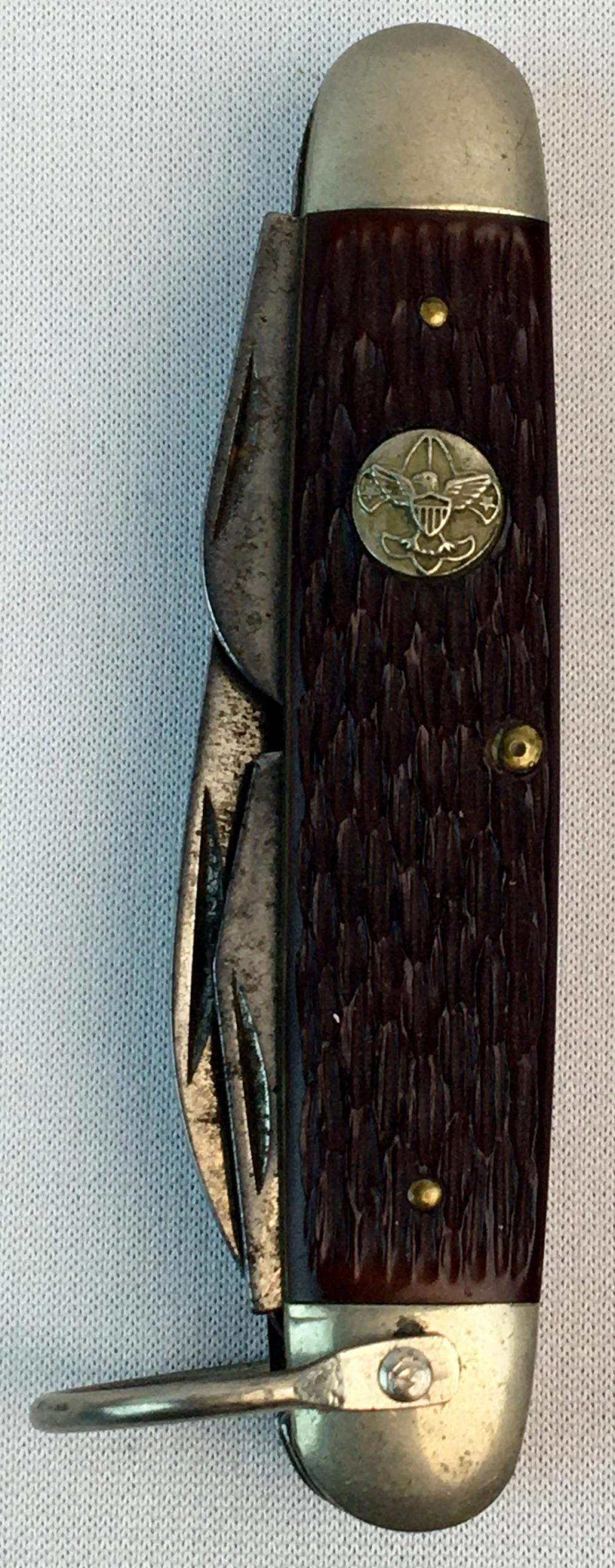Vintage c. 1940's Boy Scouts of America Ulster Jack bone 4 Blade Pocket Knife