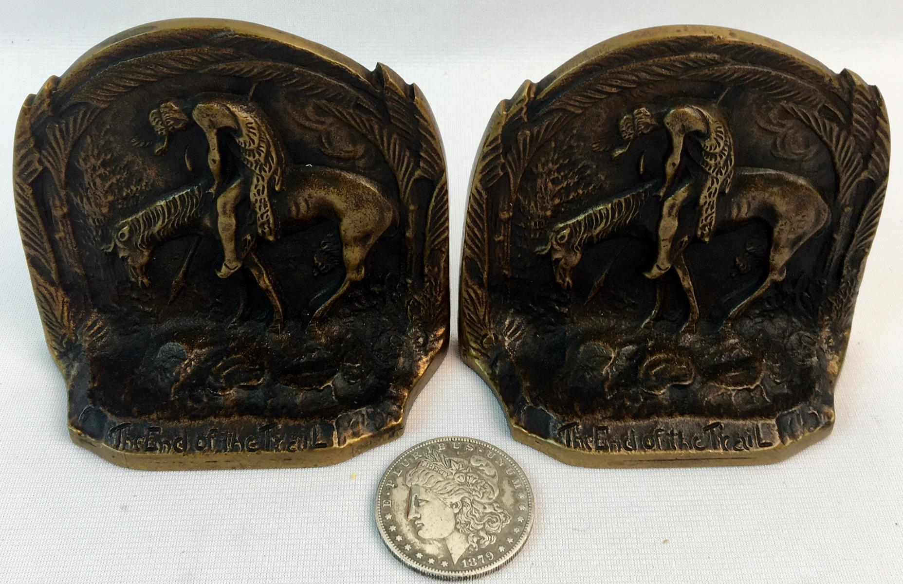 """Vintage Pair of Bronze """"The End Of The Trail"""" Bookends"""
