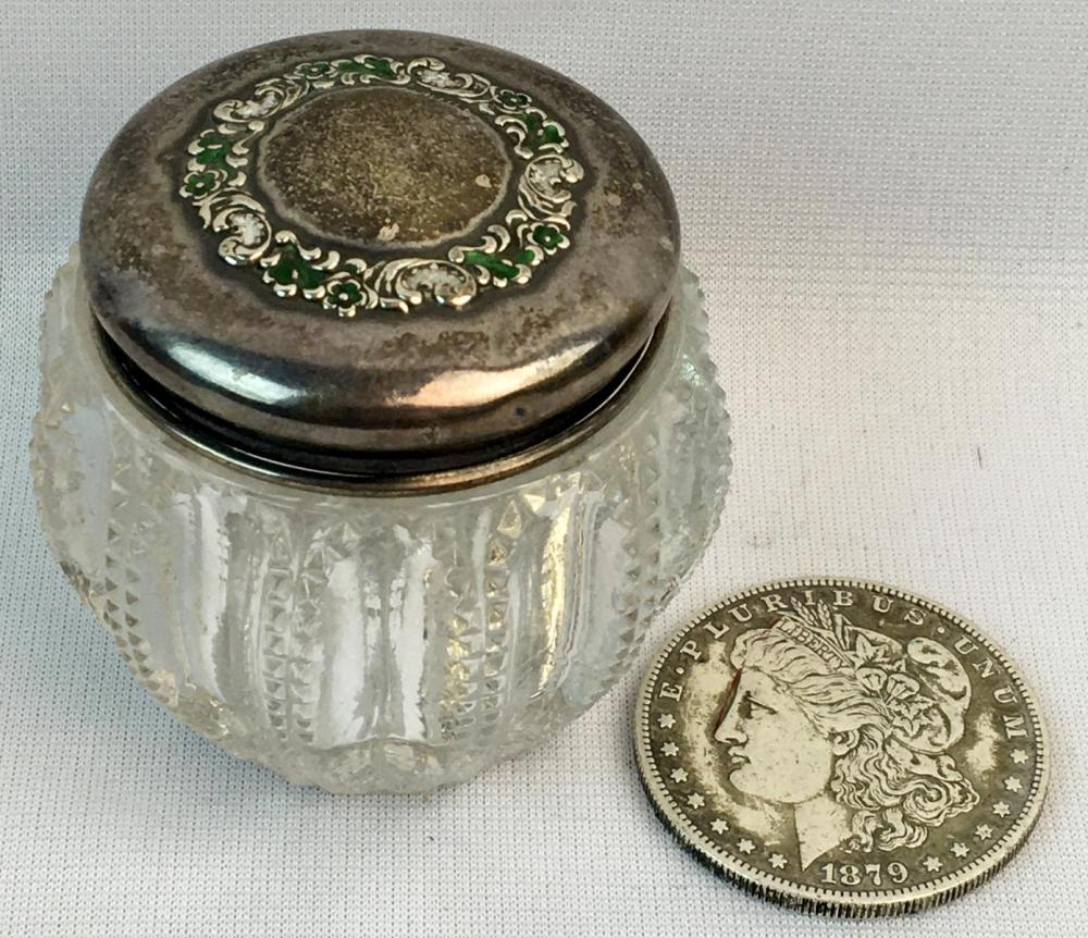 Antique Sterling Silver Covered Zipper Edge Crystal Powder Dresser Vanity Jar