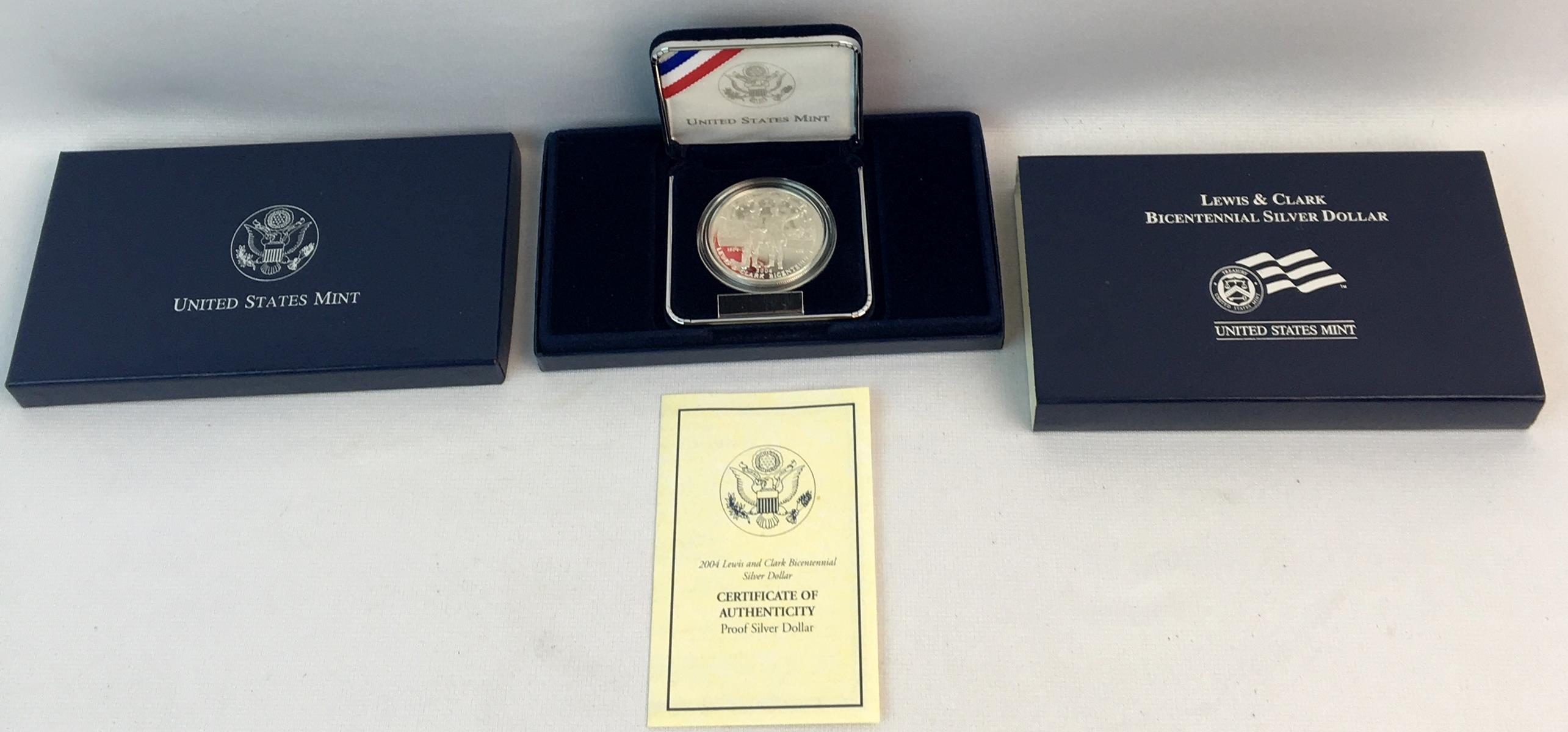 2004 Lewis and Clark Bicentennial Proof Silver Dollar w/ Case and COA