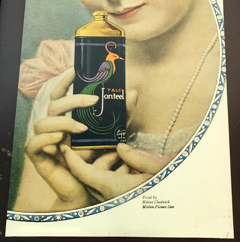 Antique 1918 Talc Jonteel Powder Advertisement FRAMED