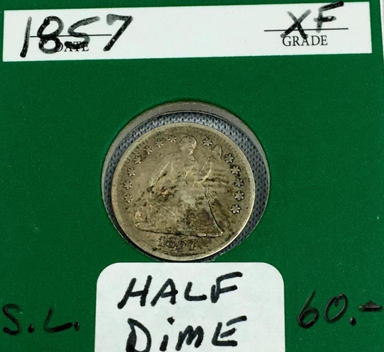 1857 US 5c Seated Liberty Silver Half Dime w/ Case