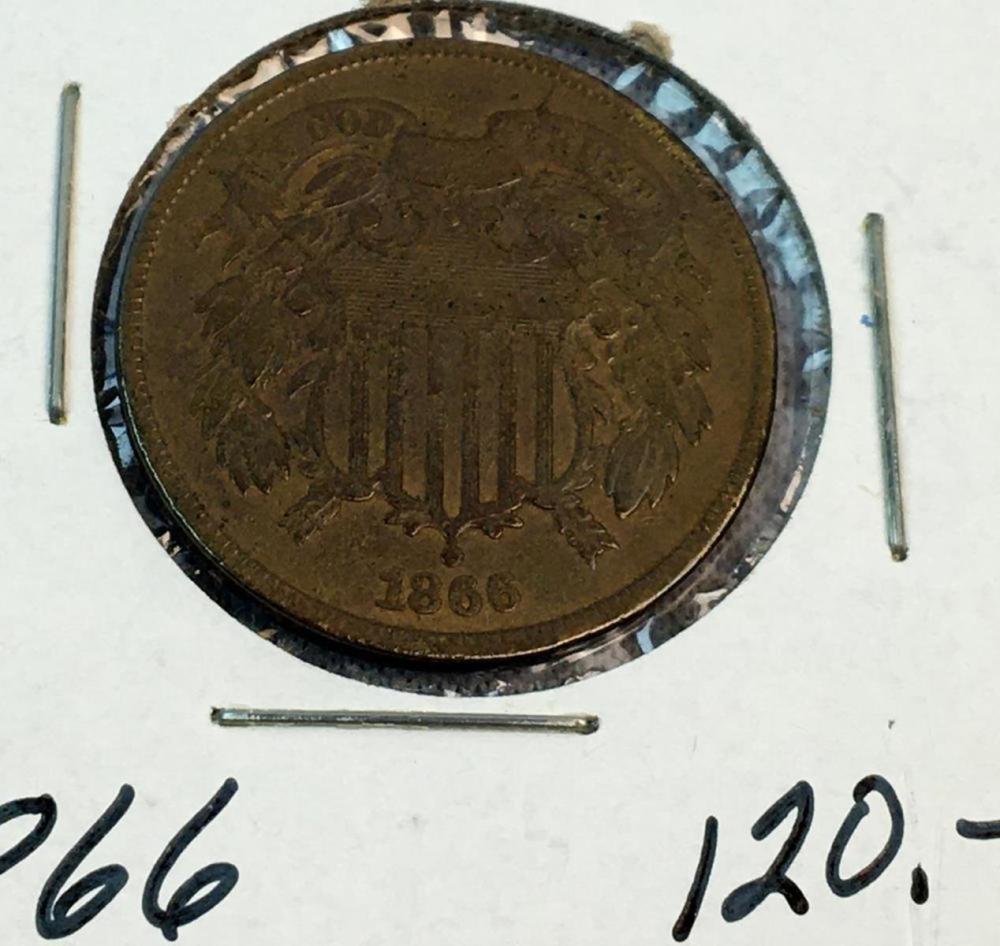 1866 US 2-Cent Piece AU Nice Toning