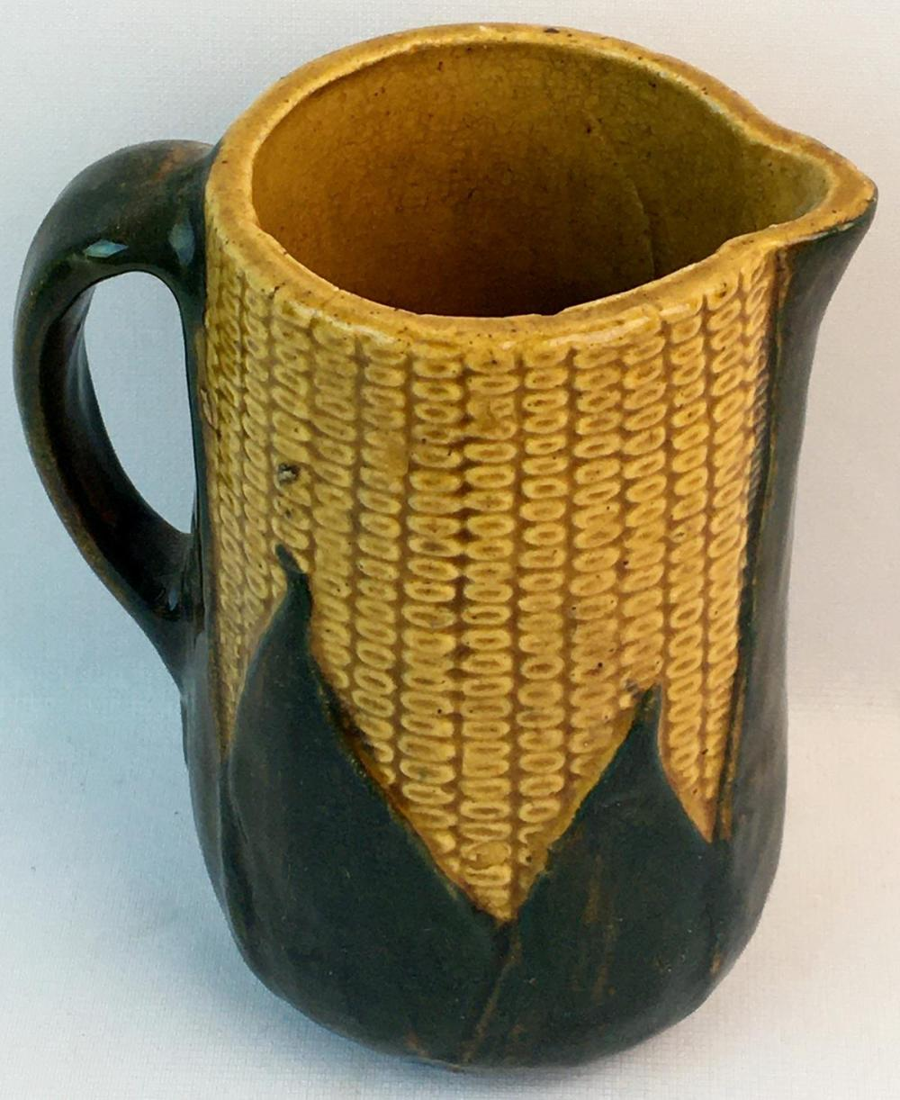 Antique c. 1910 McCoy Majolica Corn Pitcher