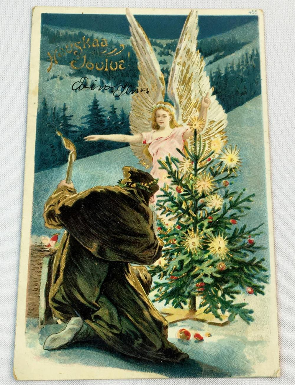 Antique c. 1905 Santa Claus In Brown Suit Kneeling Infront of a Christmas Tree w/ an Angel Embossed Postcard