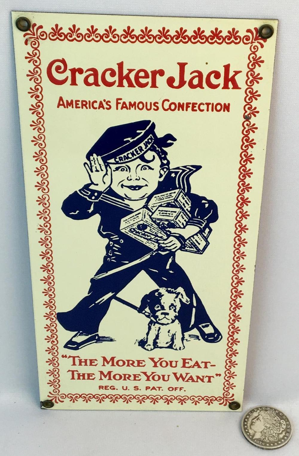 Vintage Cracker Jack Advertising Porcelain Sign