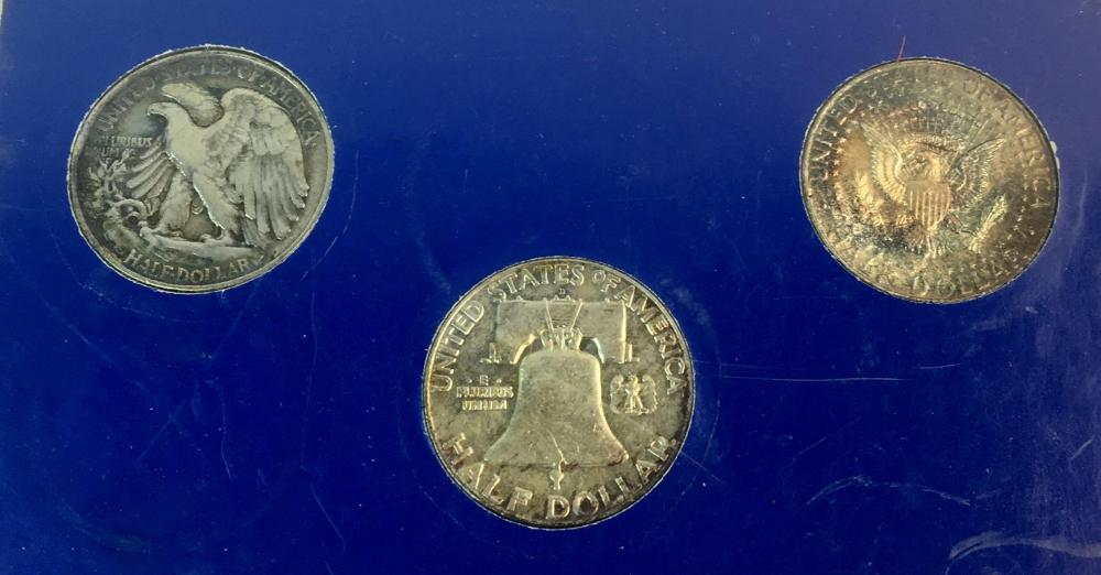 20th Century Silver Half Dollar Collection (1946 Walking Liberty / 1964 Kennedy / 1963 Franklin)